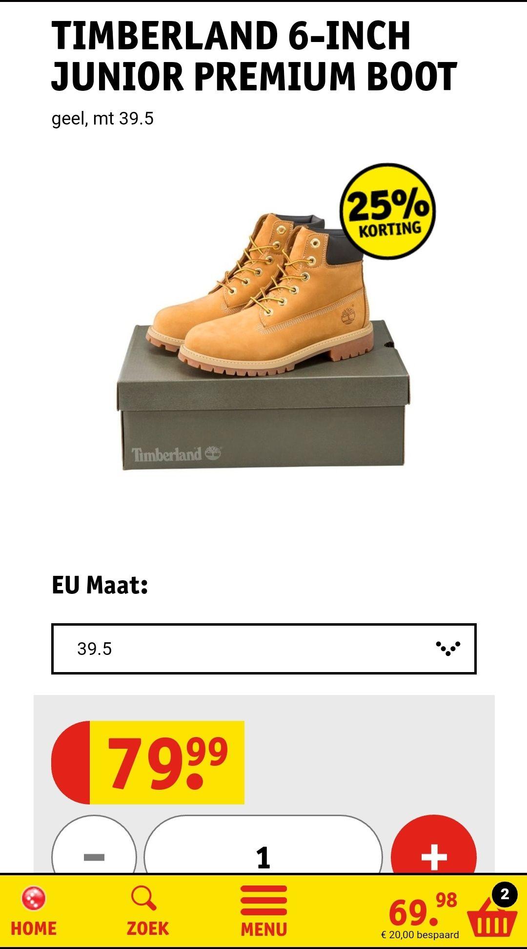 Timberland 6-inch junior boots €59,99 @ Kruidvat