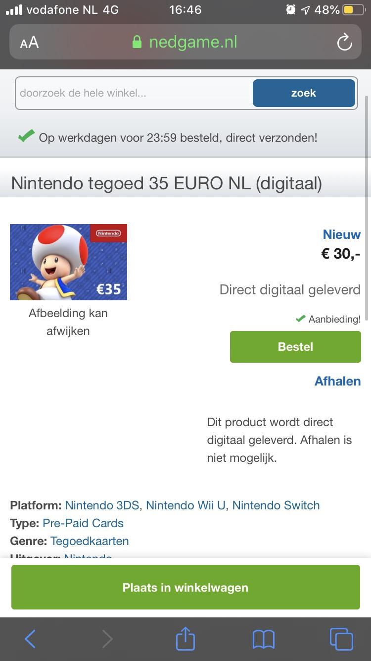 €35 Nintendo tegoed voor €30 (digitale code) @ Nedgame
