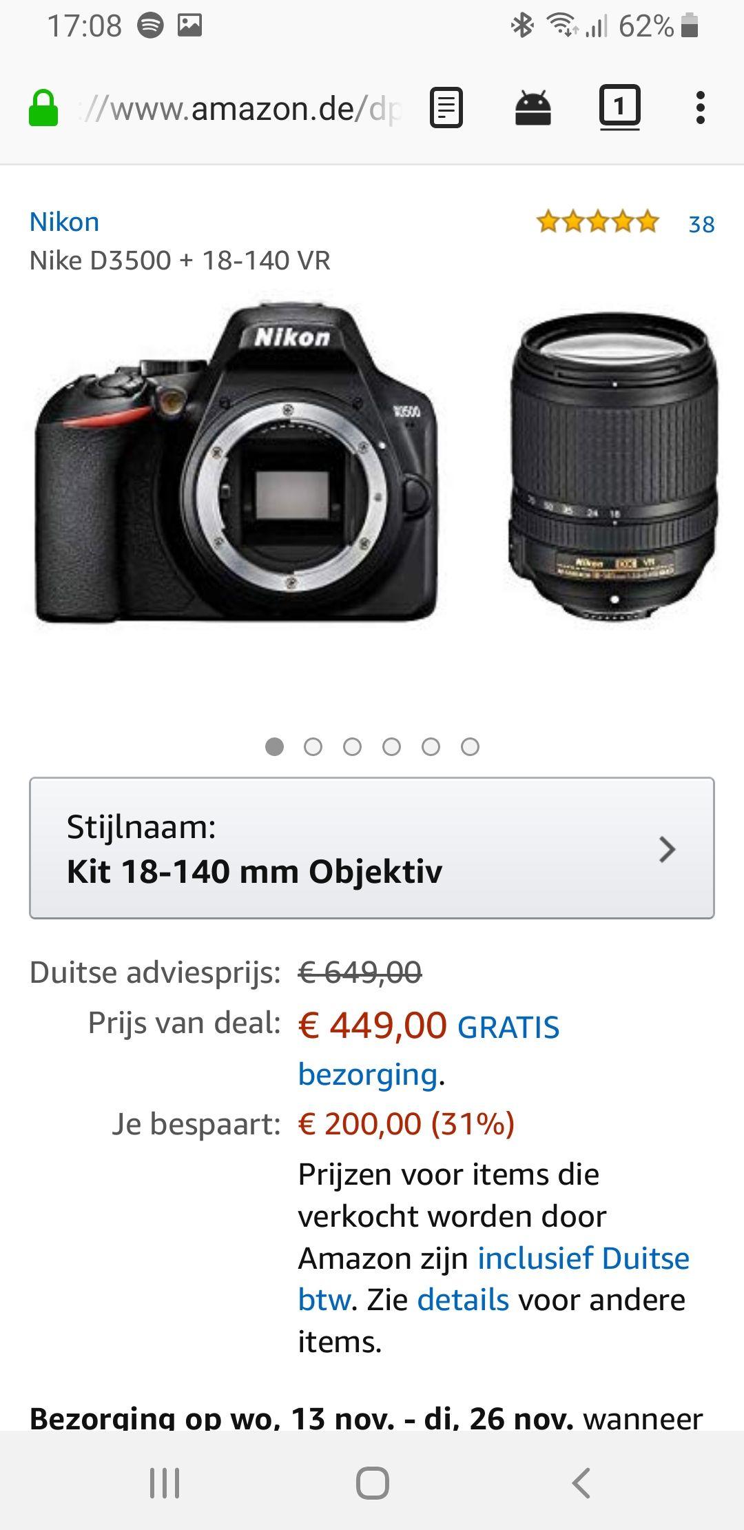 Nikon D3500 met 18-140mm objectief
