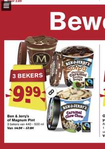 3 bekers Ben & Jerry of Magnum pint €9,99