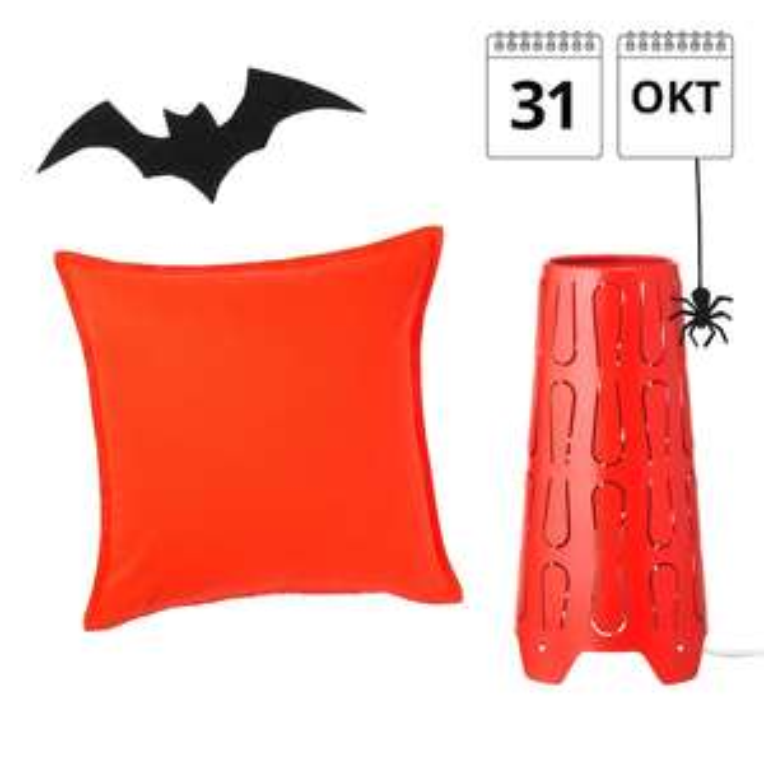 Ikea Breda, Dagaanbieding 31 okt, Halloween!!!, -1 Kussenovertrek, 50x50 cm, helderoranje €1,50 ( € 2.99) -2 Tafellamp, oranje,€4 (€ 7.99)