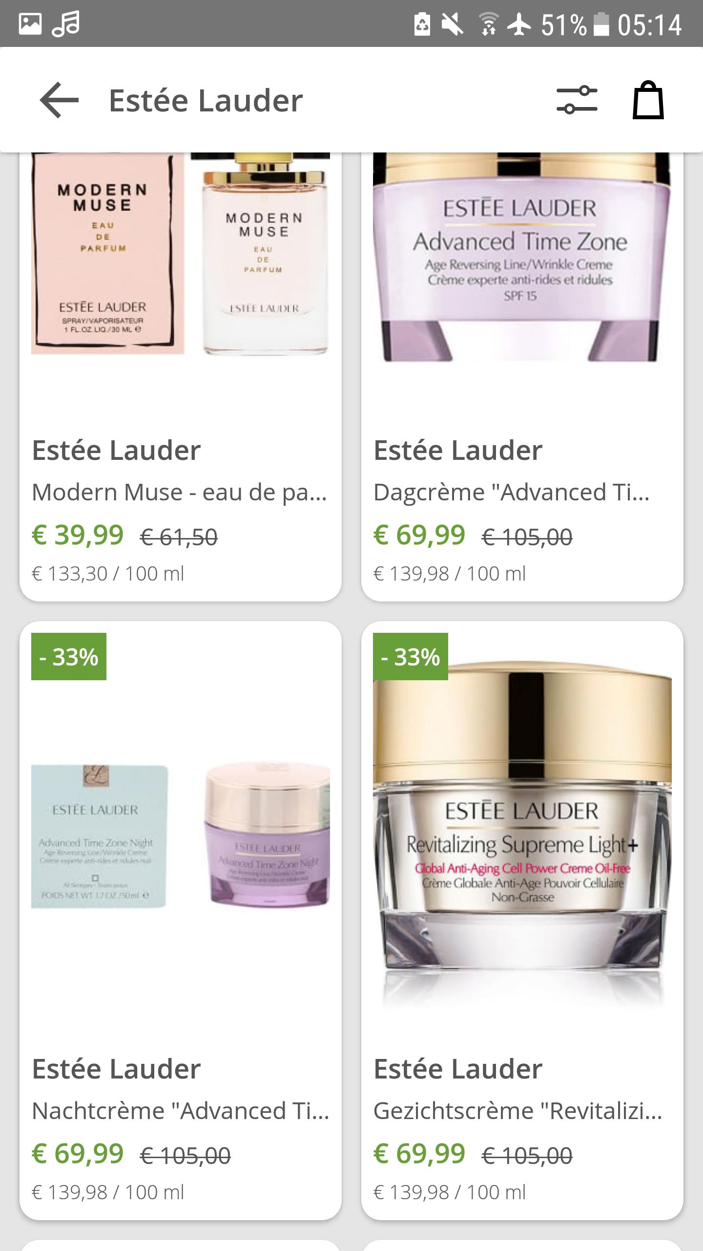 Estée Lauder producten met korting tot 33% (make-up en gezichtsverzorging en parfums)