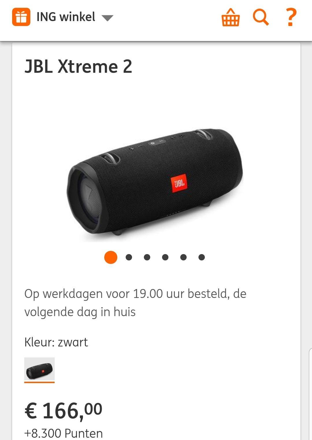 JBL Xtreme 2 elders 204,- euro