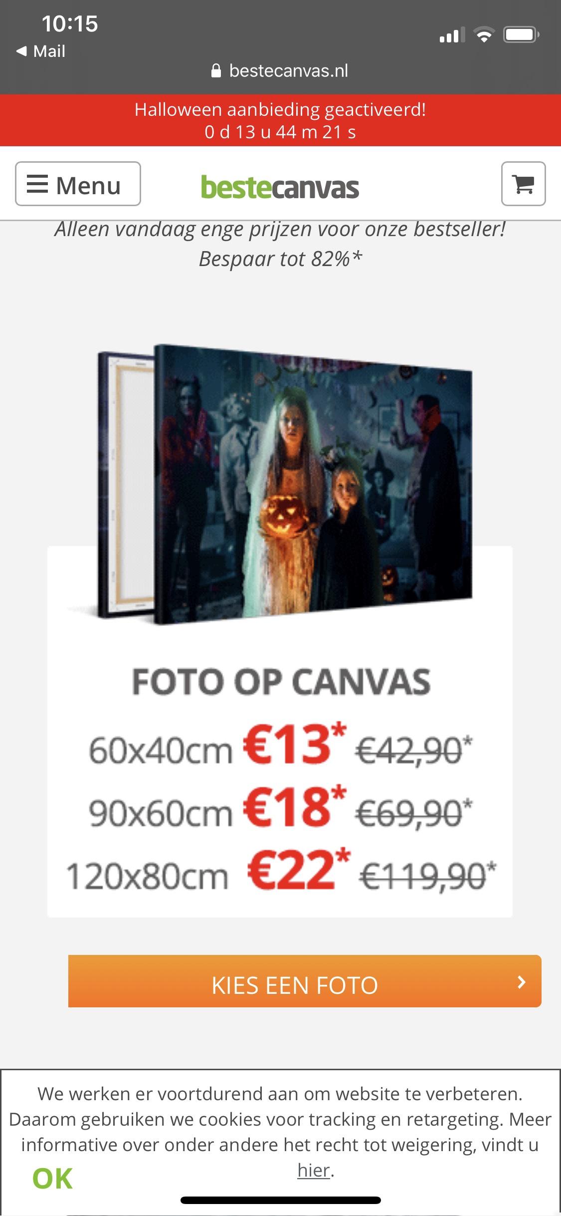 120 x 80 foto op canvas 22.-