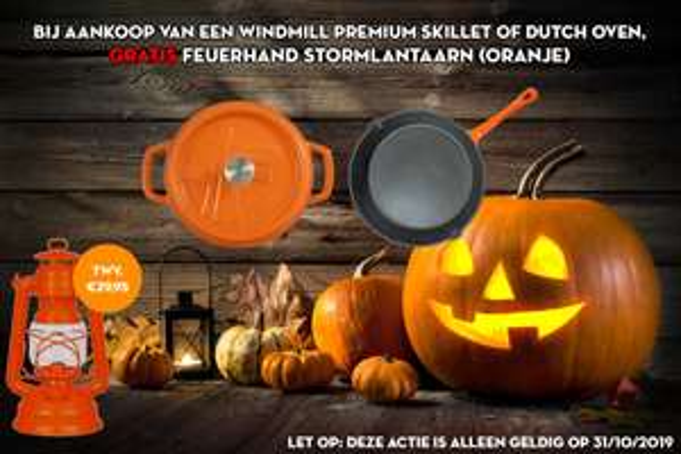 Vuur en Rook, online, 2 Halloween-aanbiedingen: gratis artikel bij aankoop van: -1 op vuur koken (Dutch Oven, Skillet) + -2 Saus
