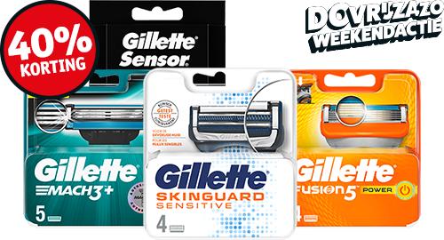Kruidvat, Gillette scheermesjes 40% korting, 18x verschillende verpakkingen