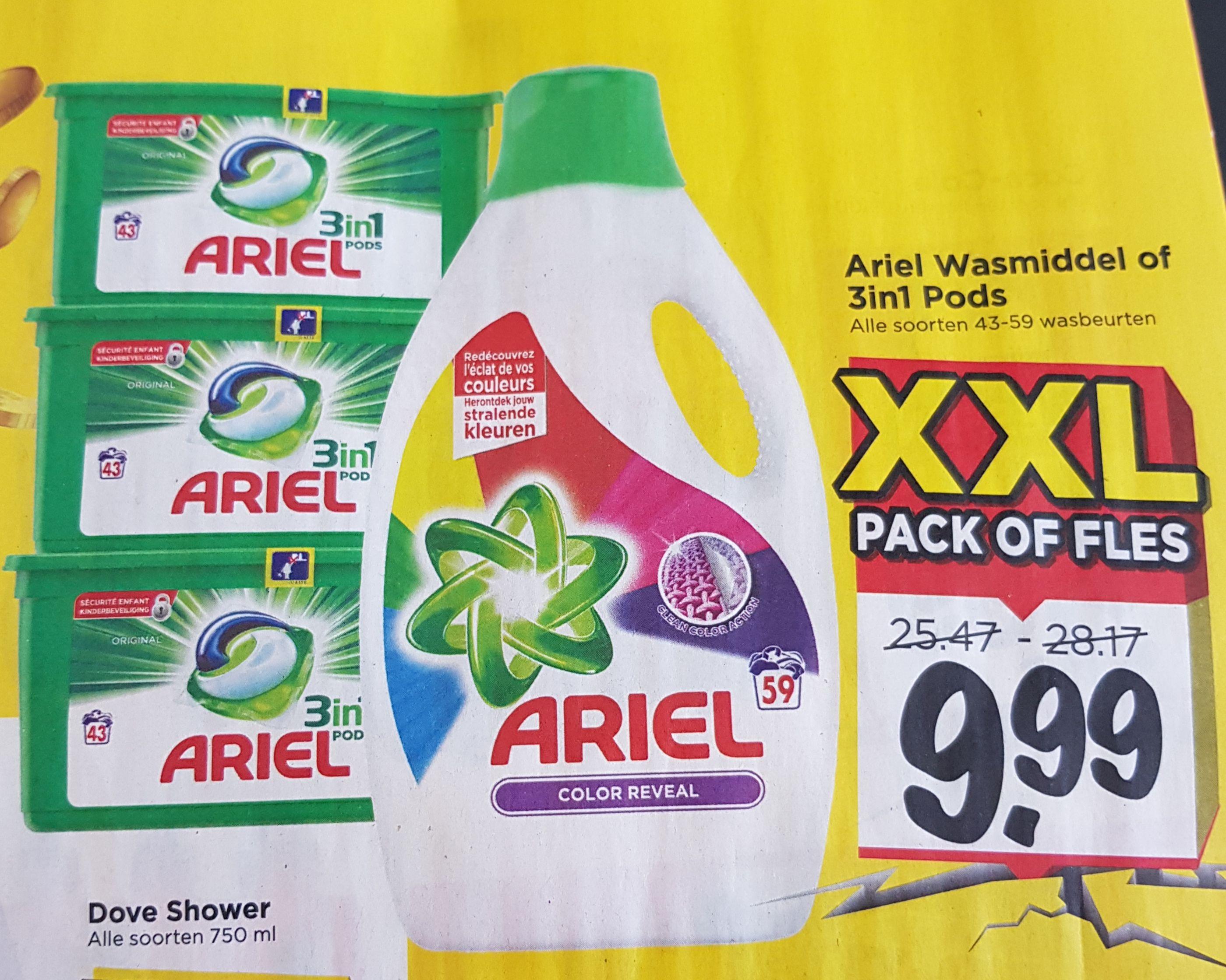 Ariel wasmiddel of pods voor 9,99 bij Vomar.