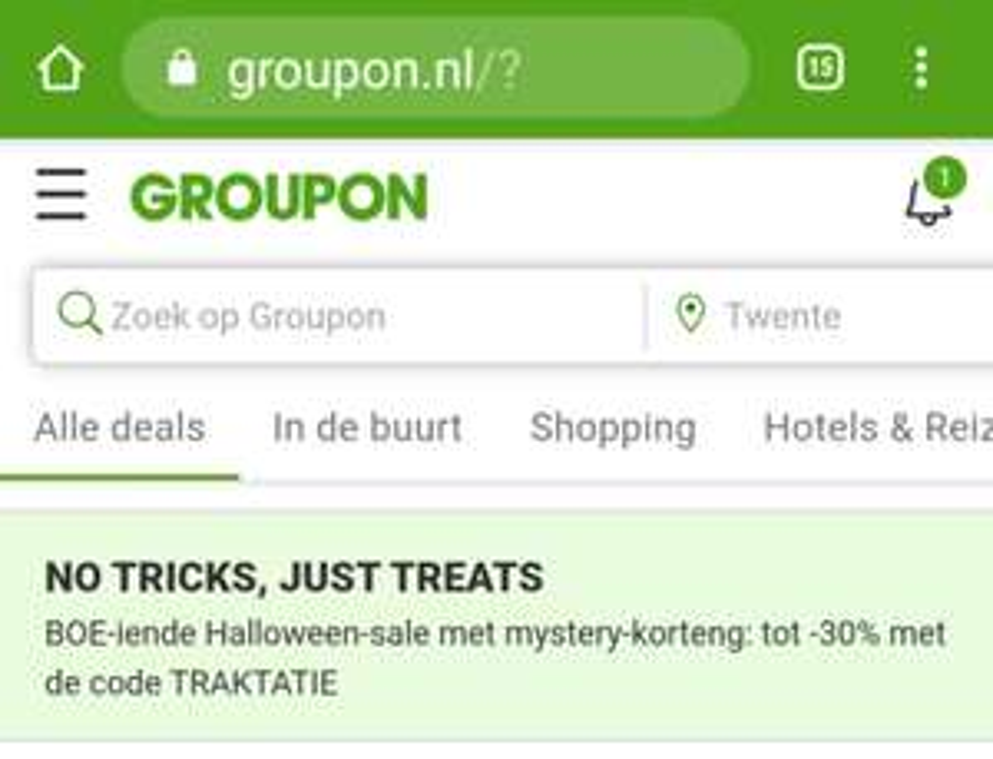 Groupon, BOE-iende Halloween-sale met mystery-korteng: tot -30% met de code TRAKTATIE