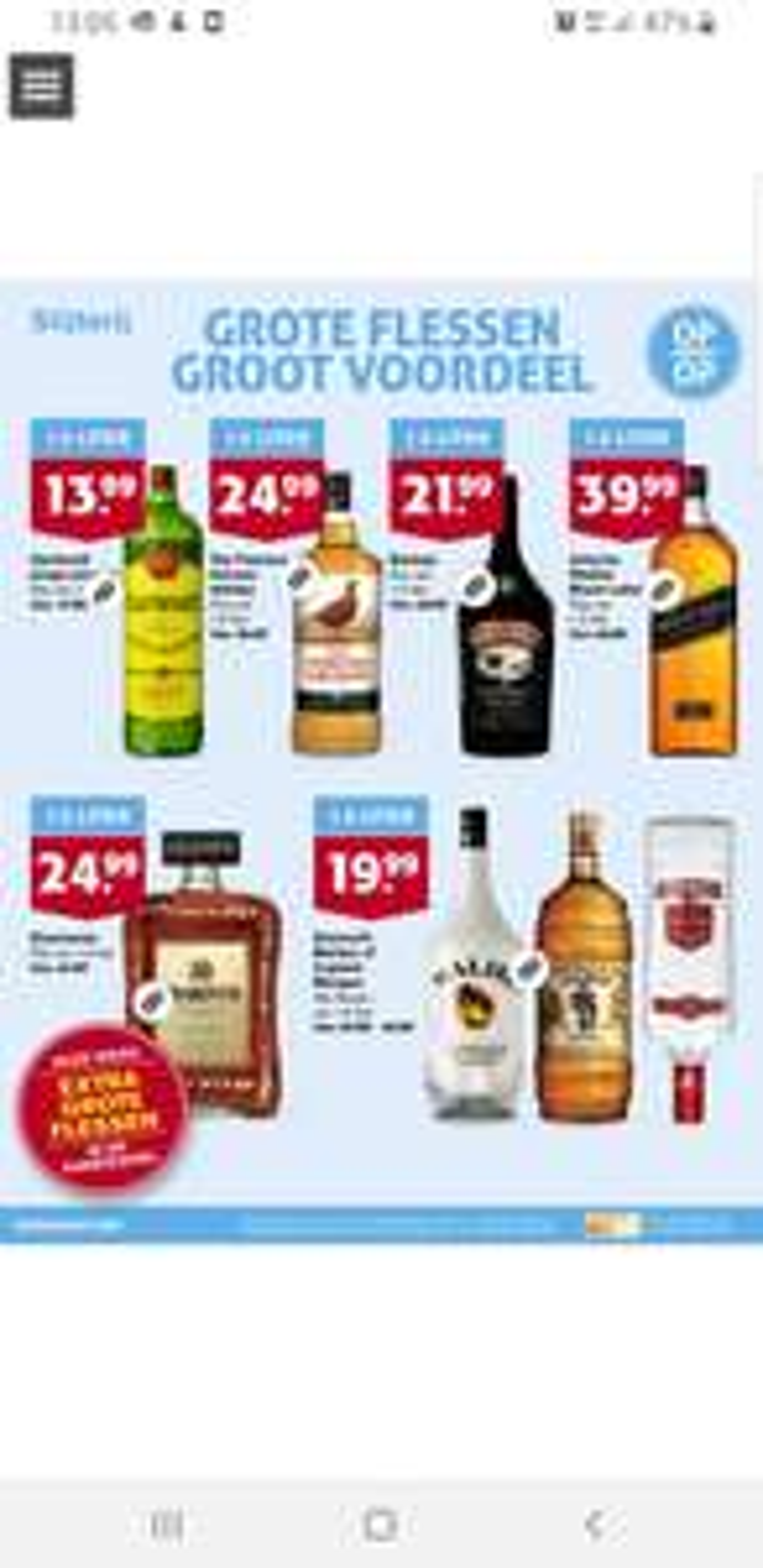 1.5 liter flessen drank bij Hoogvliet v.a. 13.99-39.99