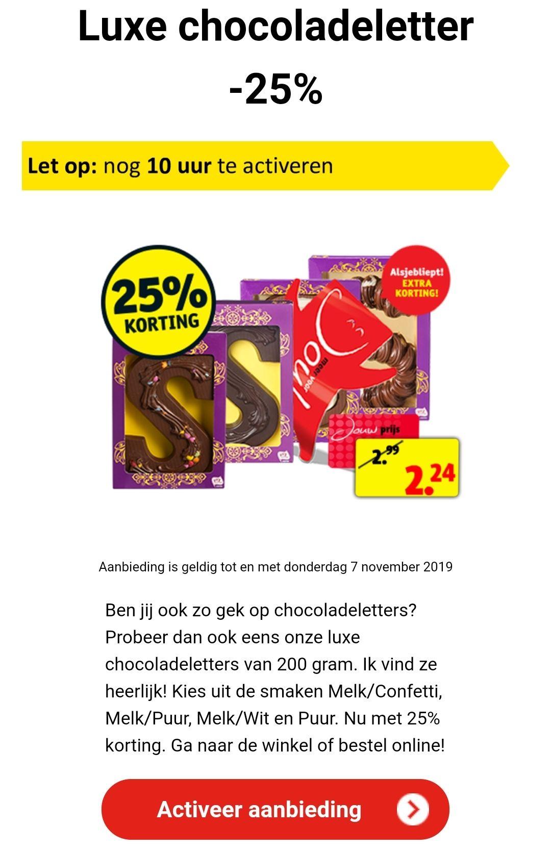 25% korting op luxe chocoladeletter (€2,24) @ Kruidvat