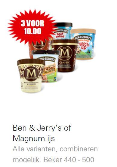 Ben & Jerry's of Magnum ijs 3 voor €10 @Dirk