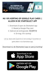 Startselect 10% korting op google play