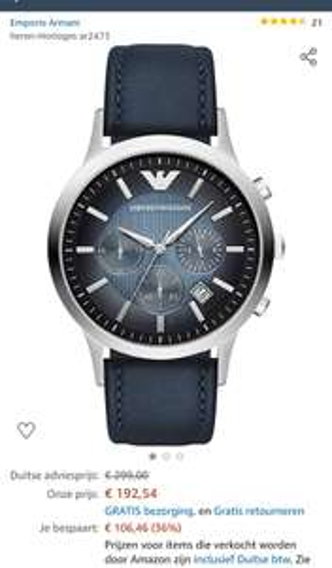 Armani horloge AR2473 €191,86 @ Amazon.de