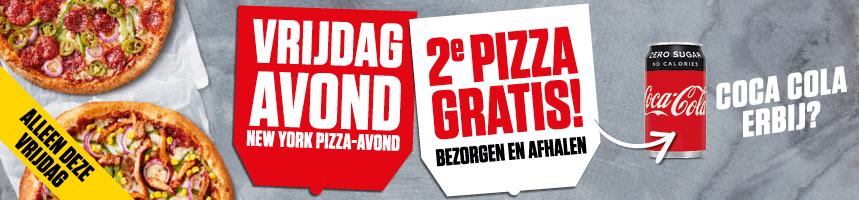 Vrijdagavond 2e pizza gratis bij bezorgen en afhalen *landelijk*