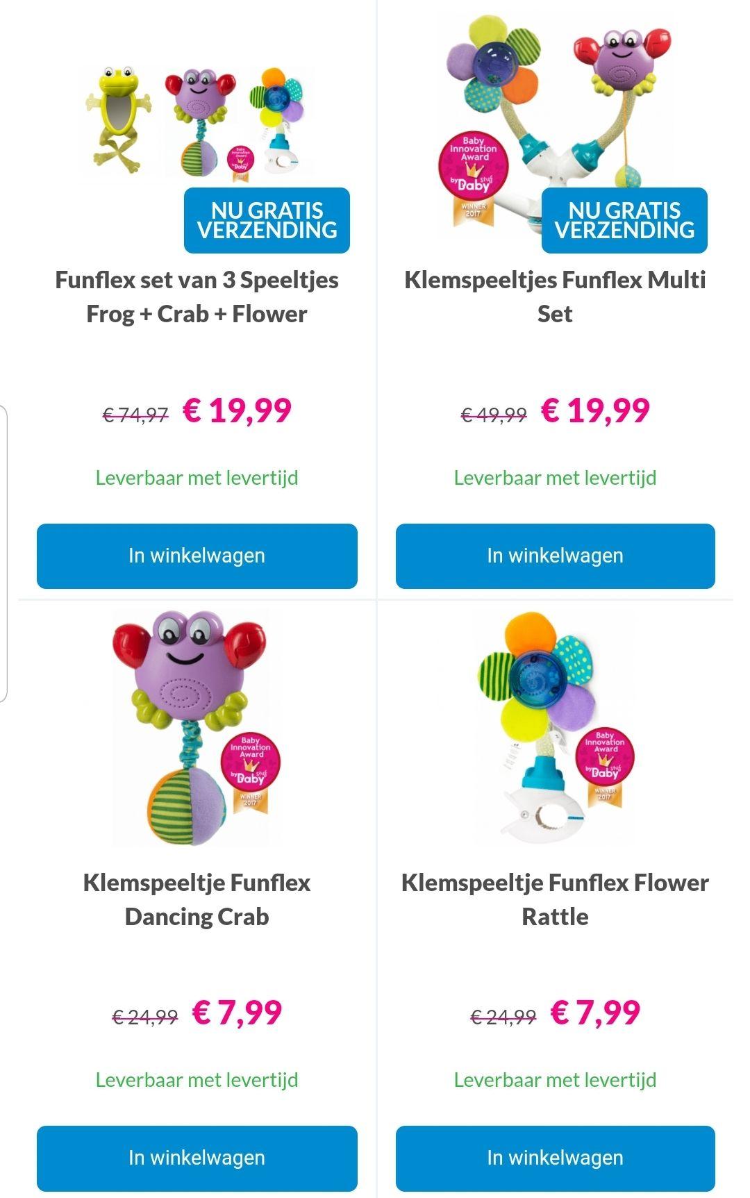 Funflex speeltjes met hoge korting bij Van Asten Baby Superstore (gratis verzending mogelijk)