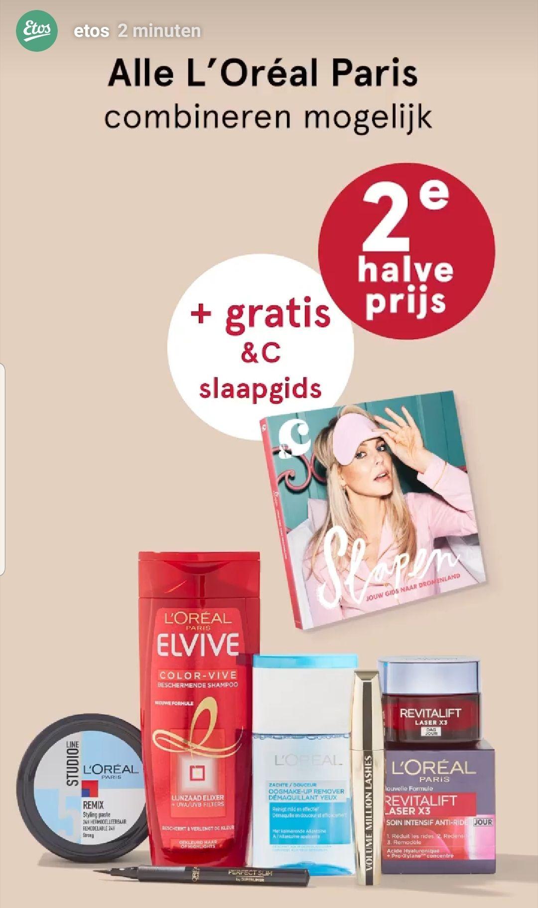Gratis &C slaapgids t.w.v. €9,99 bij aankoop van 2 L'oréal Paris producten (goedkoopste optie €2,32)