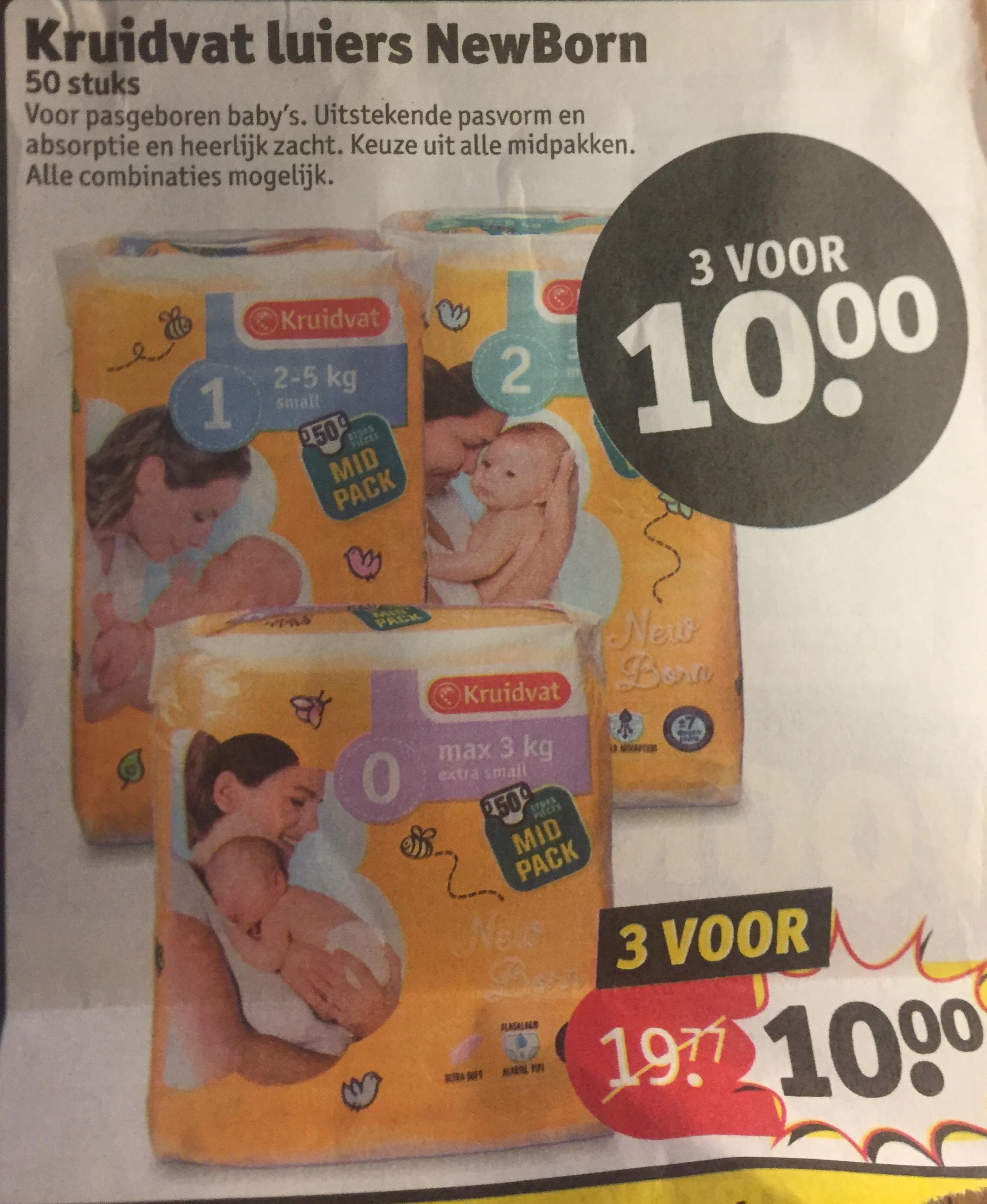 Kruidvat luiers newborn 3 pakken voor 10€