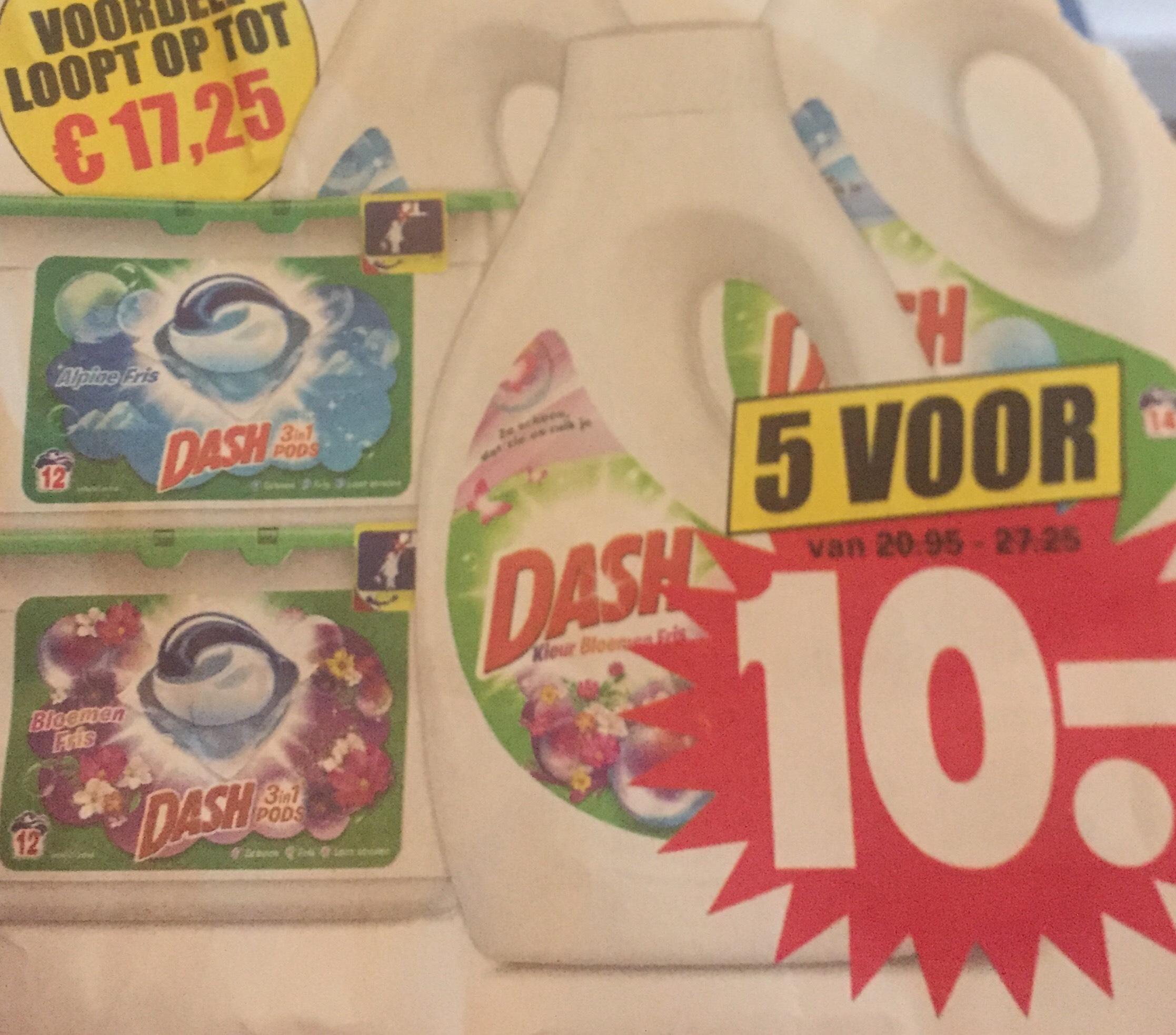 Dirk: Dash pods/ vloeibaar —> 5 stuks voor 10€