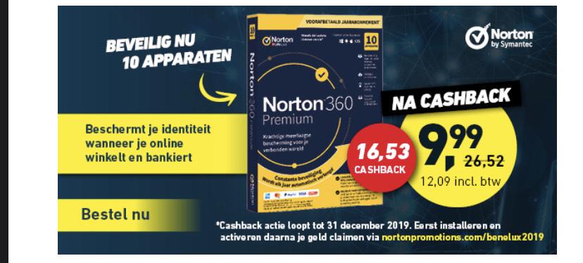 Norton 360 Premium voor 10 apparaten €12,09 na cashback!