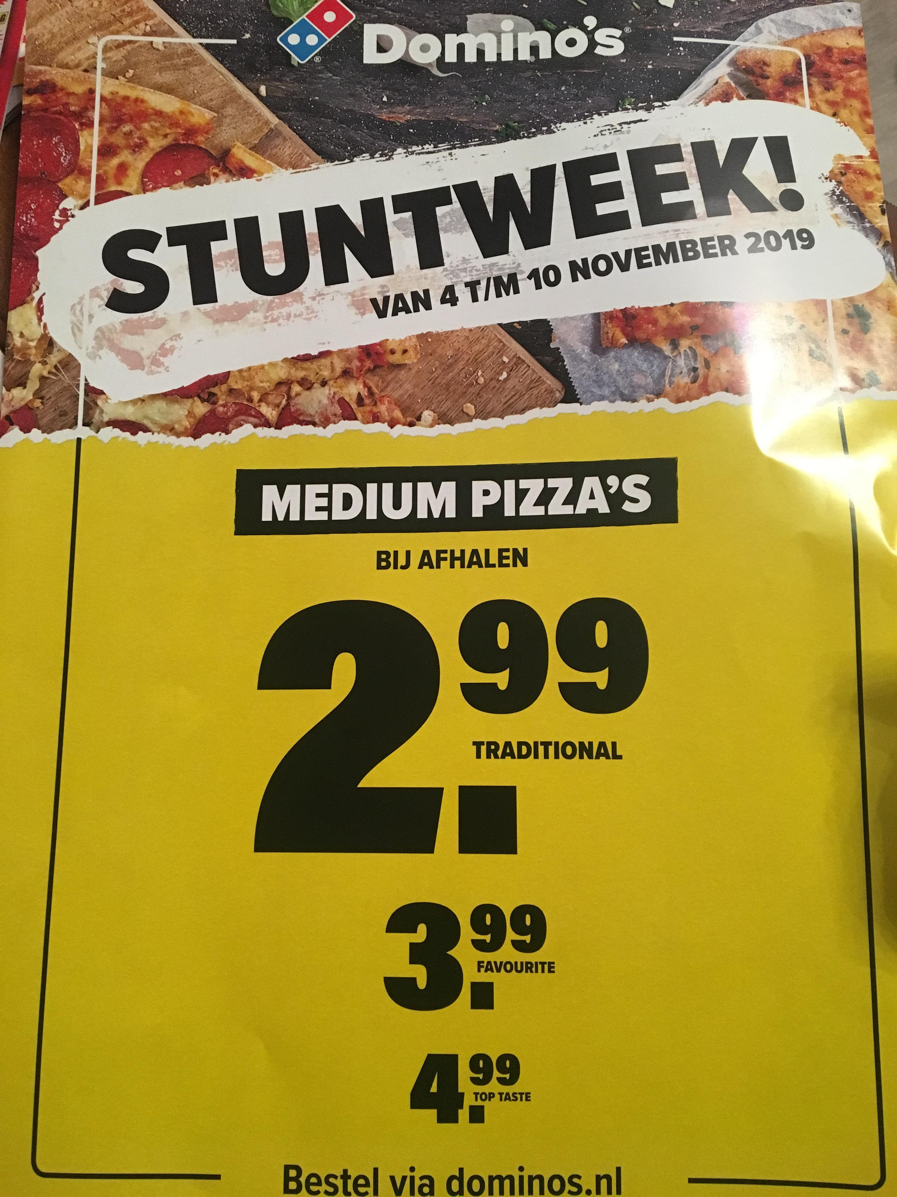 Dominos Stuntweek medium pizza vanaf 2,99 euro