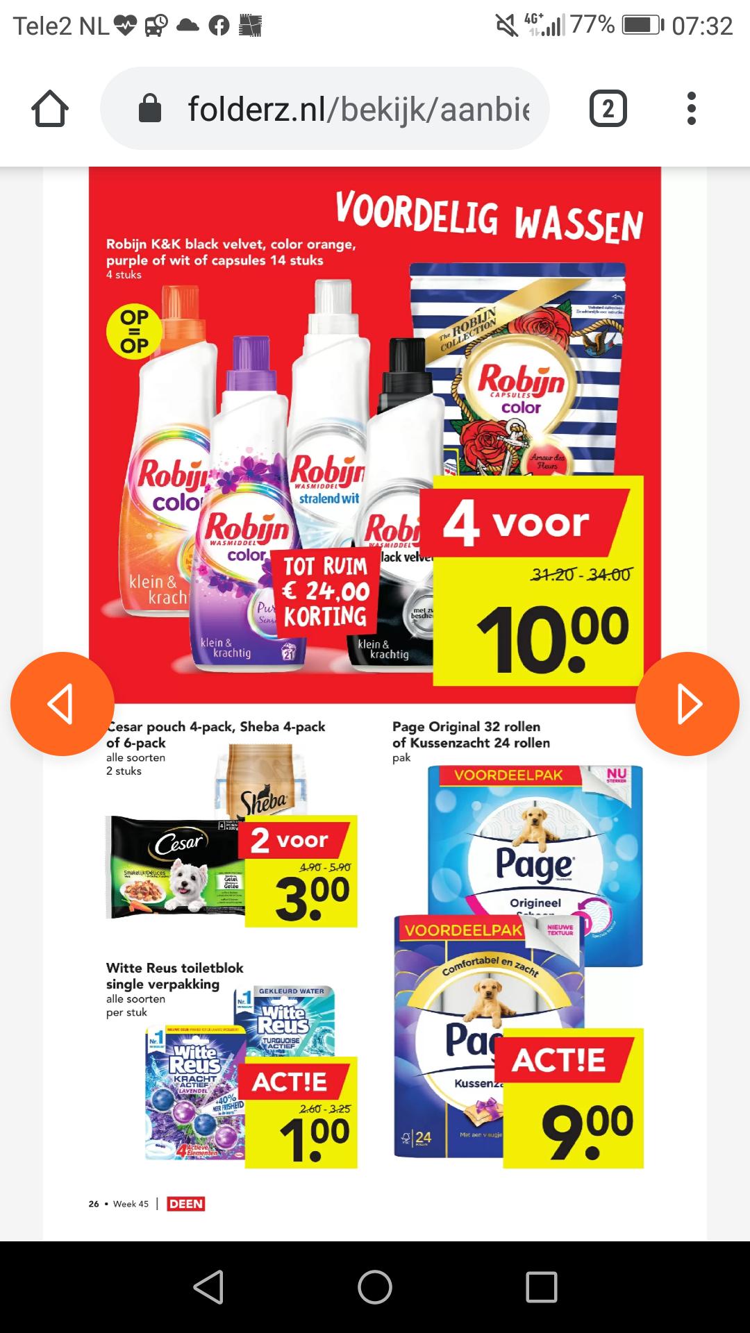 Robijn wasmiddel 4 voor €10 bij Deen