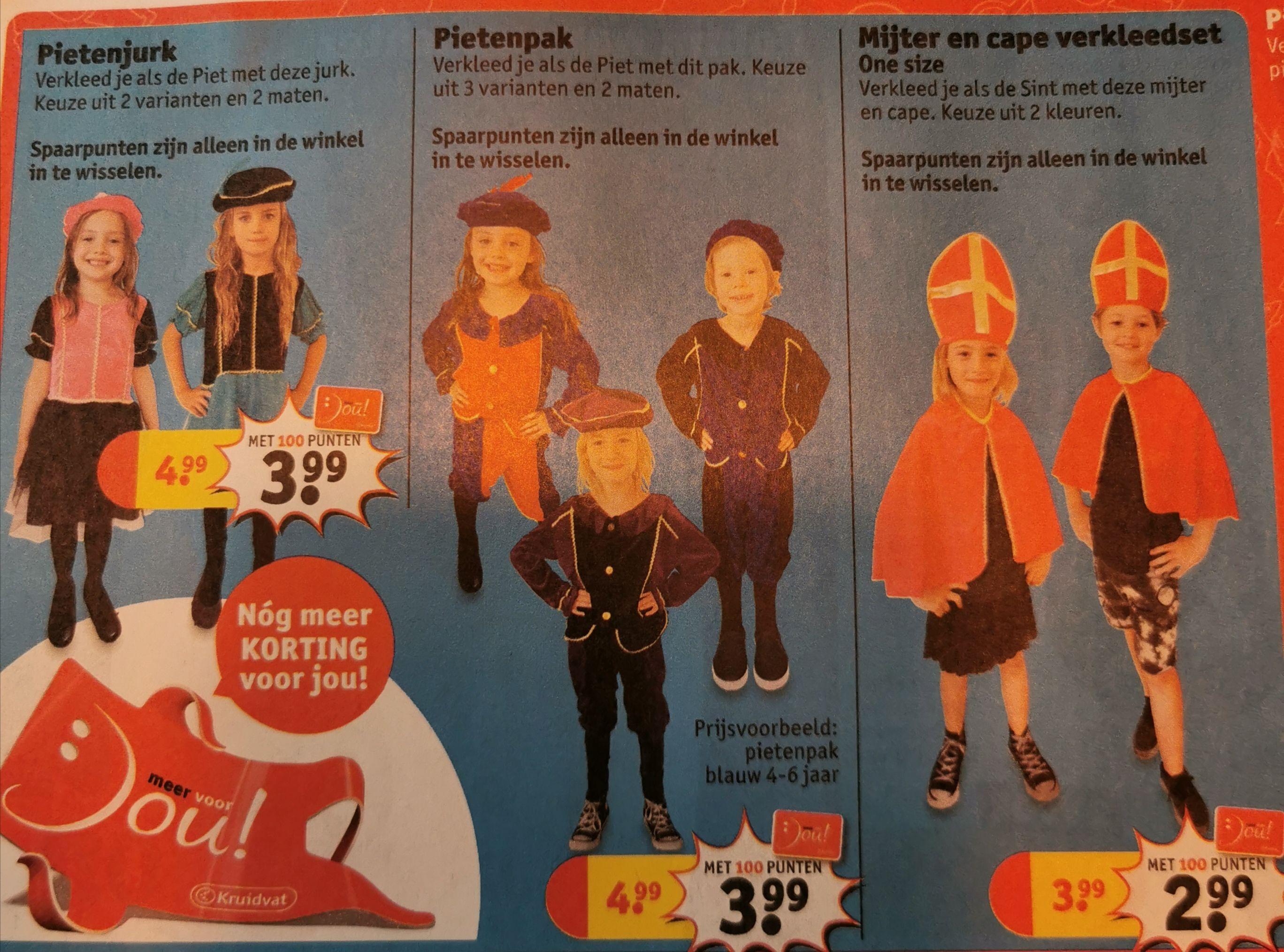 Pietenpak + andere Sint verkleedkleren in 2 verschillende maten @ Kruidvat