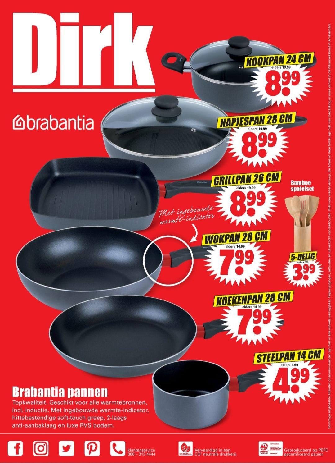 Brabantia pannen €4.99-€8.99 bij Dirk vanaf 3/11