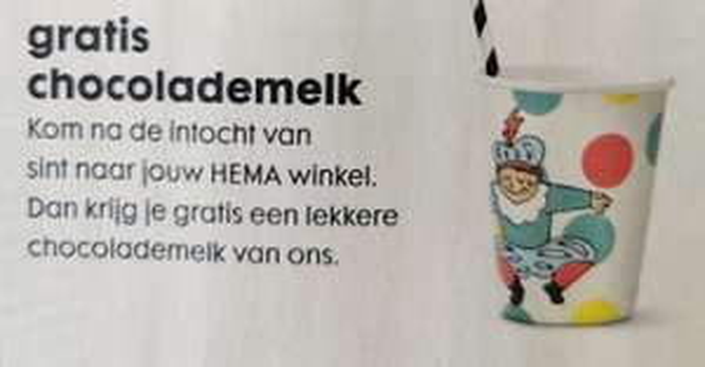 Gratis chocolademelk na de intocht van Sinterklaas @ HEMA