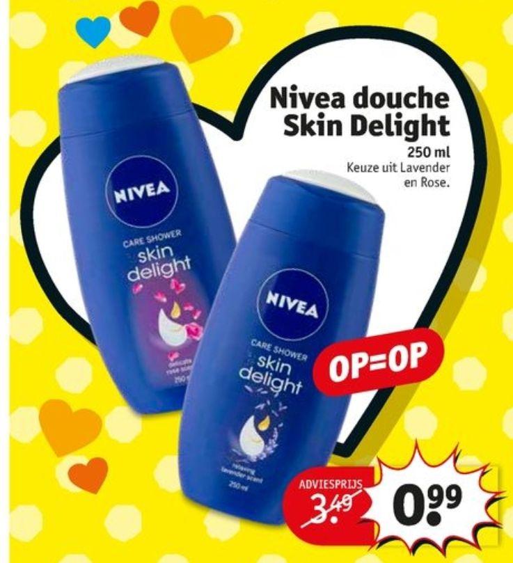 @Kruidvat. Nivea douche skin delight 250ML €0.99