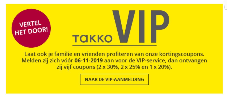 Takko kortingsbonnen bij inschrijving VIP