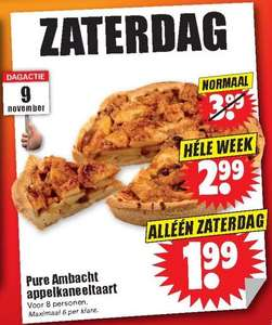 Appelkaneel taart voor 8 personen vanaf € 1,99 @ Dirk