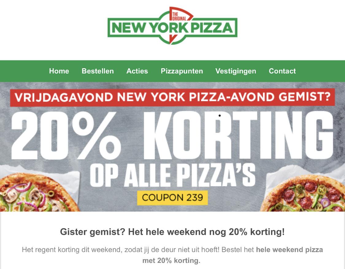 NewYork pizza Het hele weekend nog 20% korting!