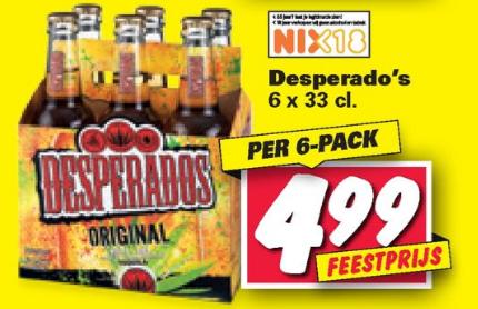 Desperados 6-pack voor €4,99 @Nettorama
