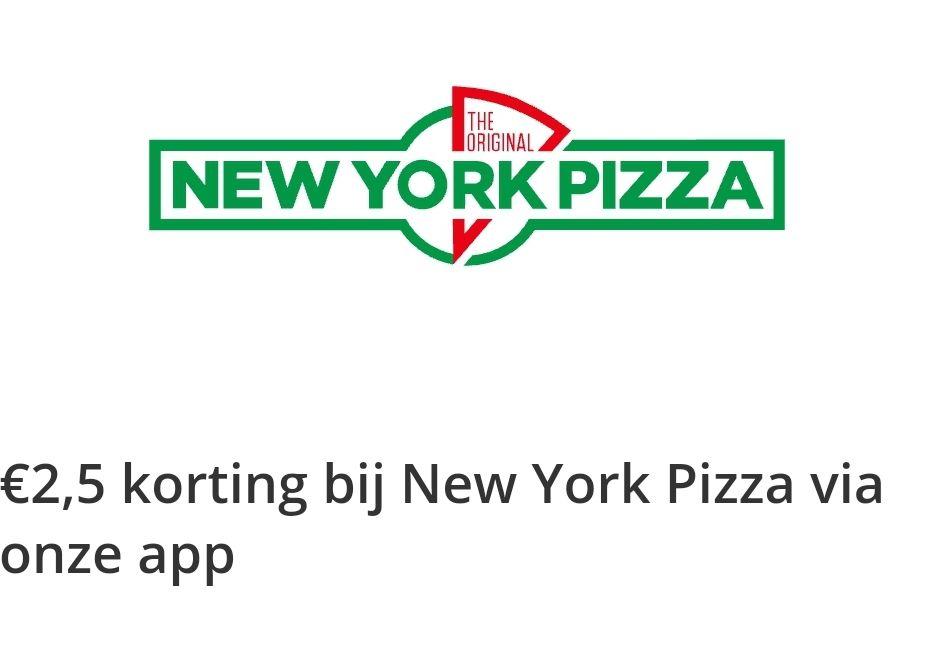 2,50 op New York Pizza dmv 75 Bestelpunten Thuisbezorgd.nl