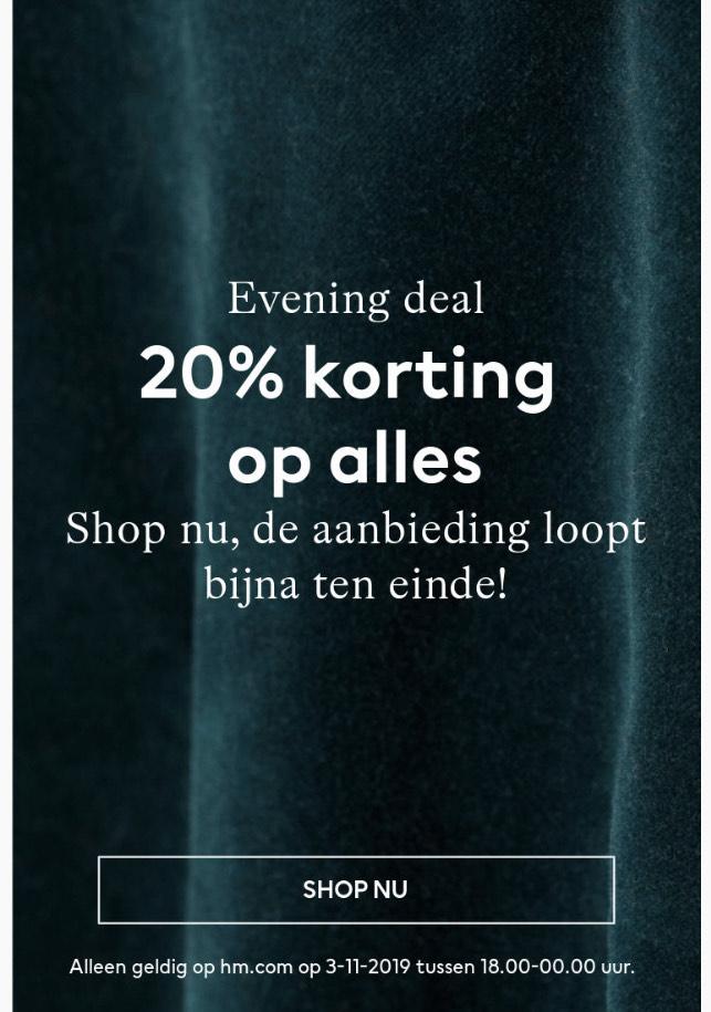 H&M vanavond 20% korting op alles