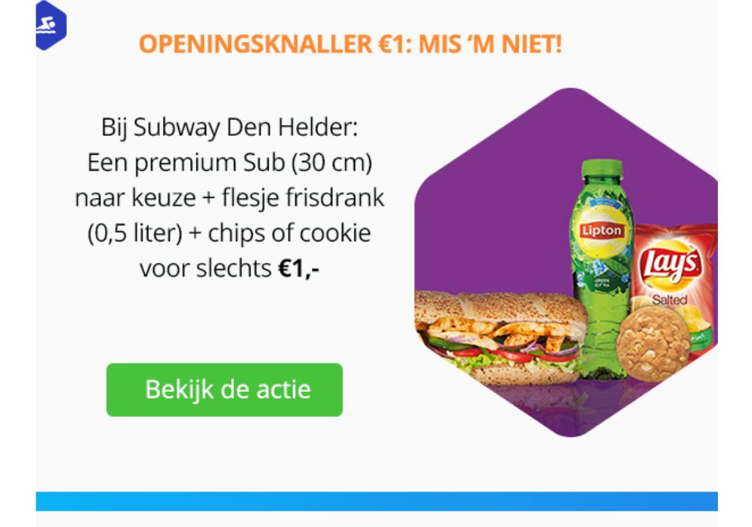 [Subway Den Helder] 30cm Sub, drinken & zakje chips of koekje voor totaal €1