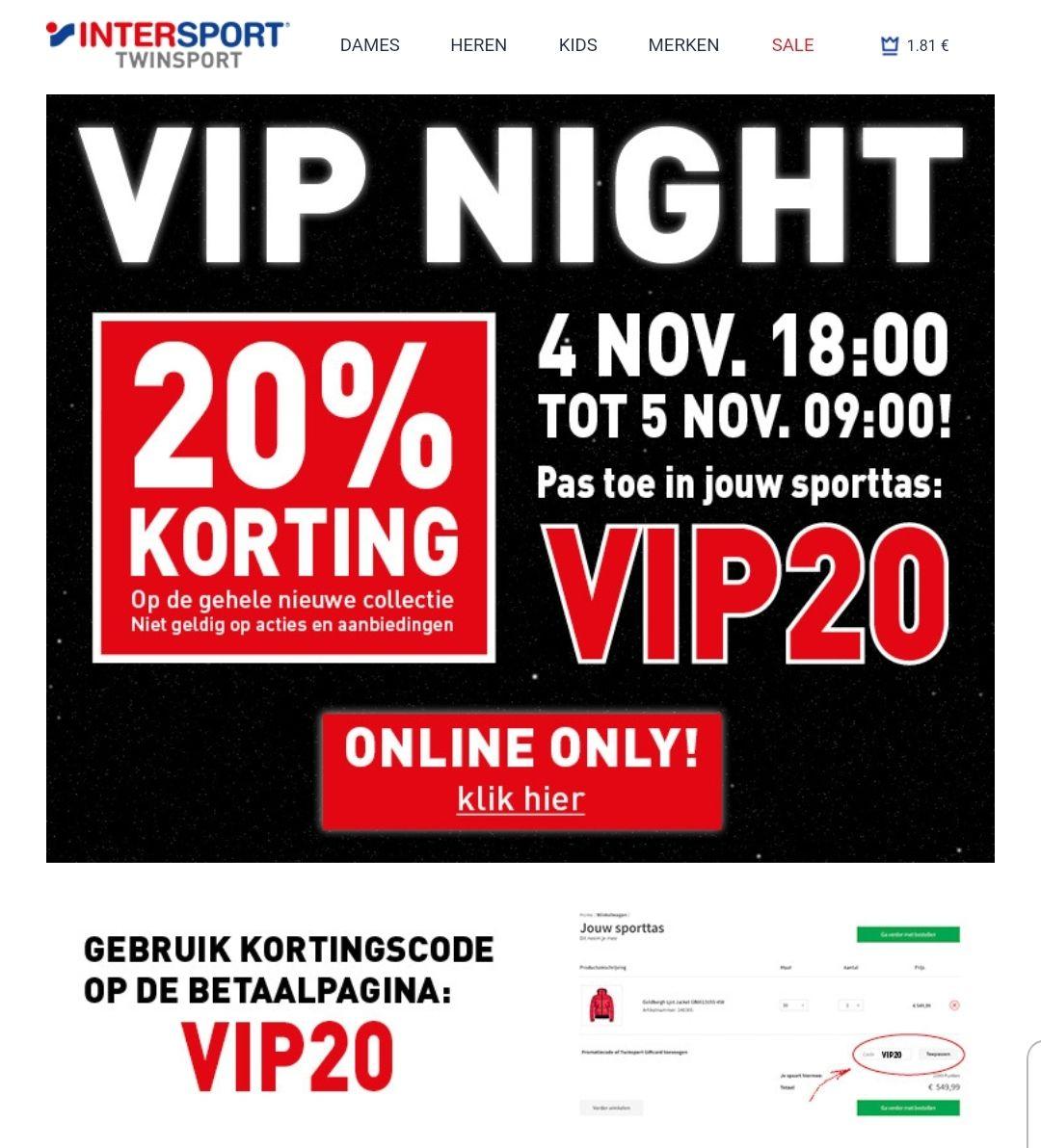 VIP night bij Intersport (alleen online)