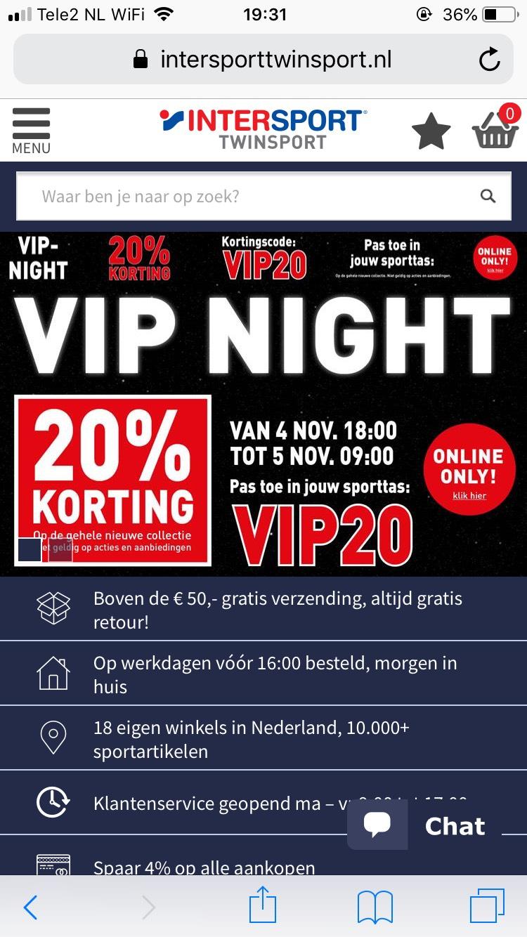 Shoppingnight 20% korting op gehele collectie Intersport