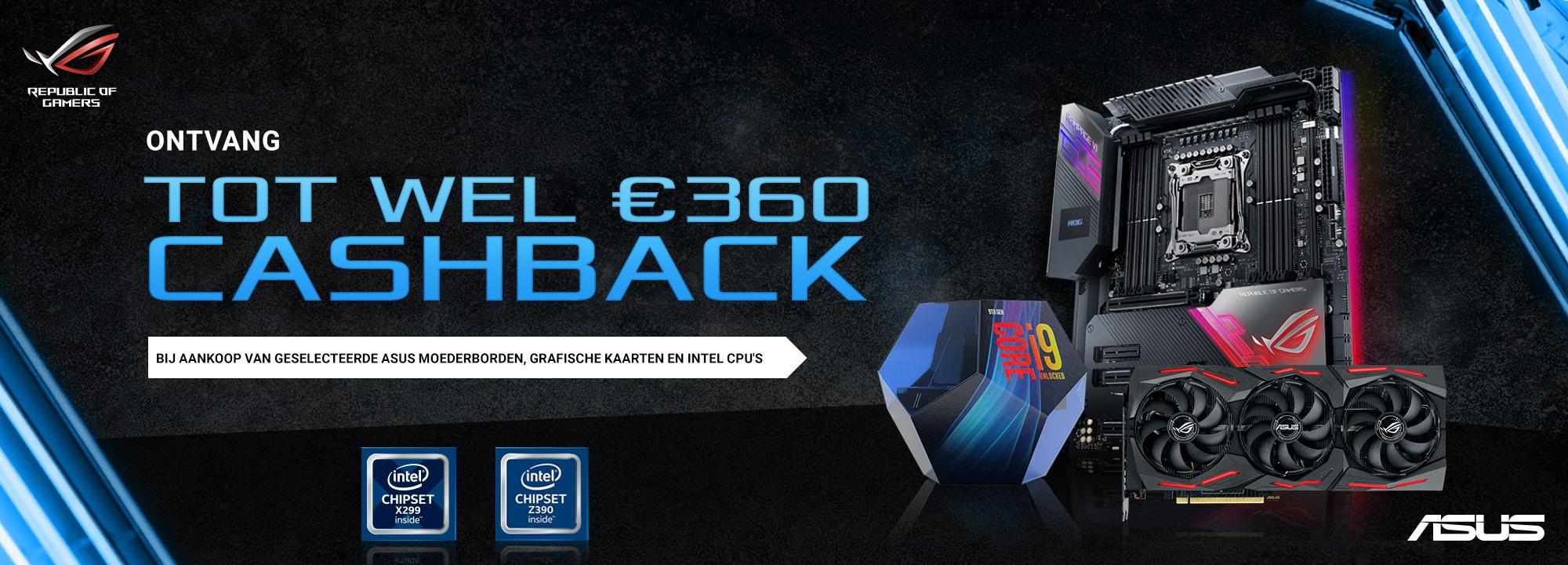 Cashback op veel Asus producten! €25 - €165