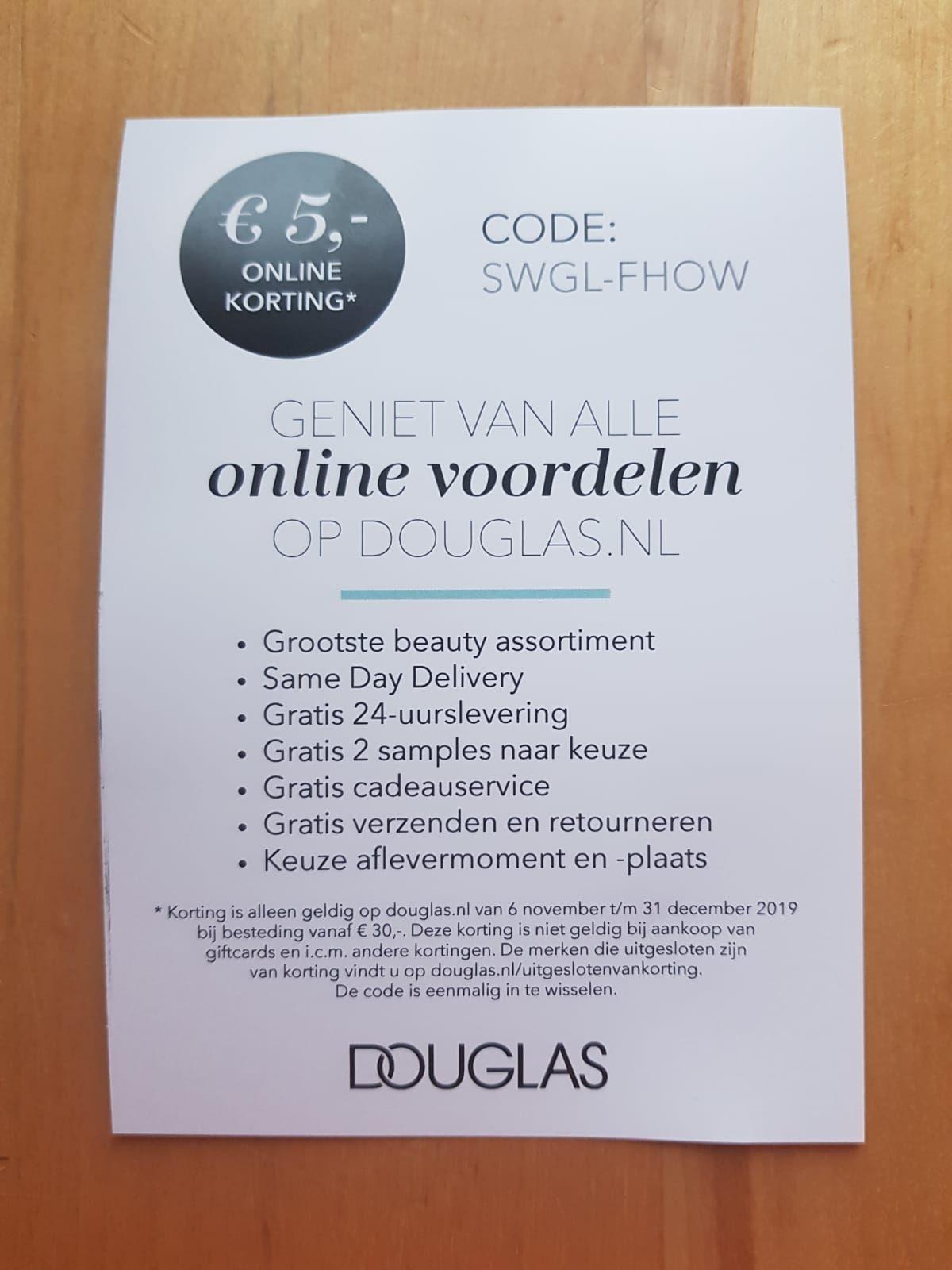 Douglas €5,- korting bij besteding vanaf €30,-