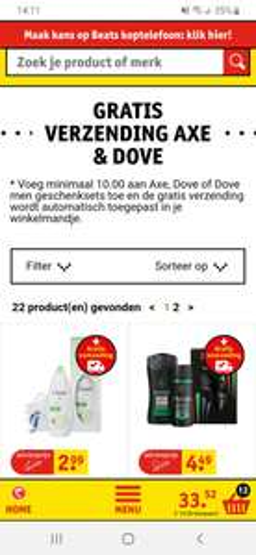 Gratis verzending kruidvat bij €10 euro aan dove en axe geschensets