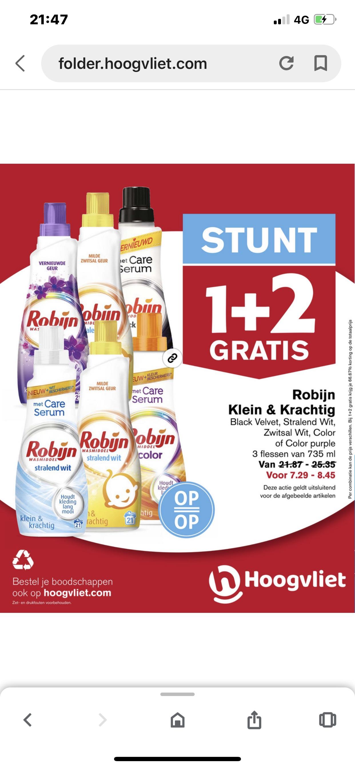 Hoogvliet Robijn 1+2 gratis