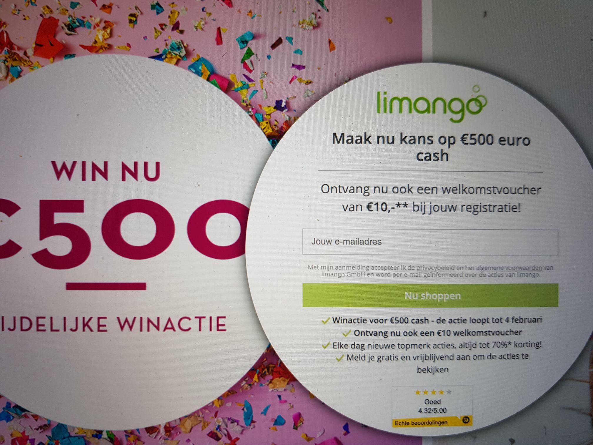 Welkomstvoucher 10 euro limango