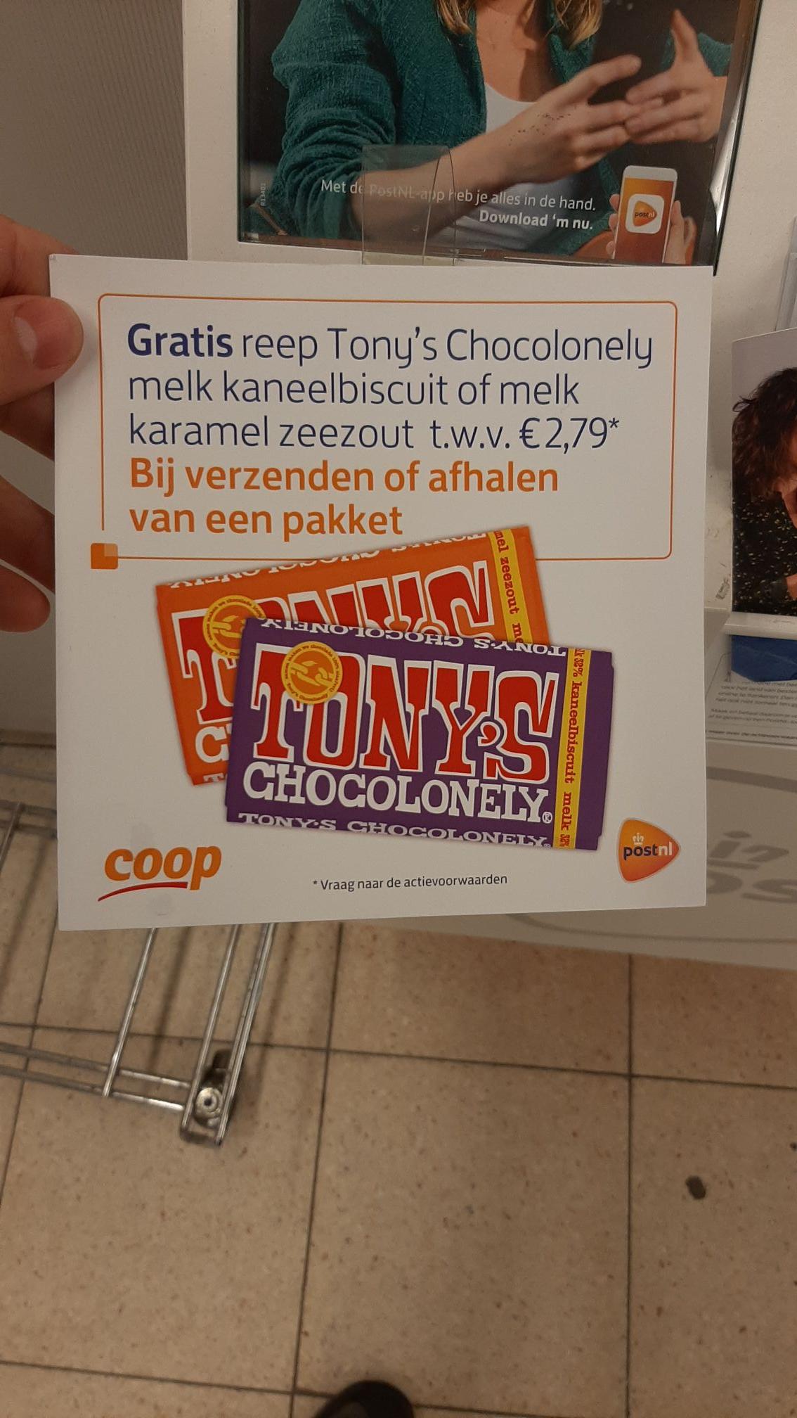 Gratis Tony chocolonely bij Coop bij postnl pakket verzenden of afhalen
