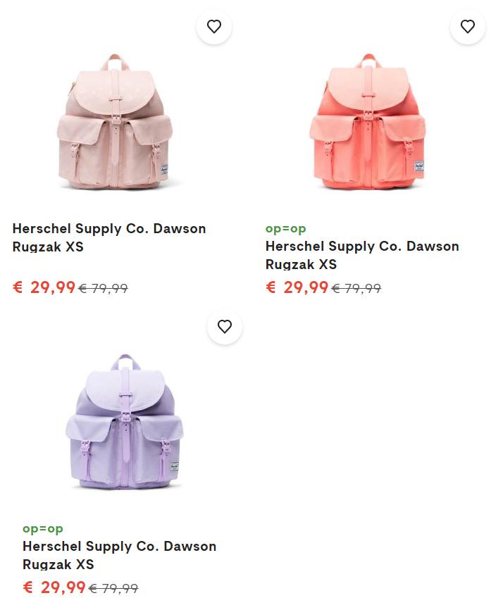 Herschel Supply Co. Dawson Rugzak XS -63% - 3 kleuren @ fonQ
