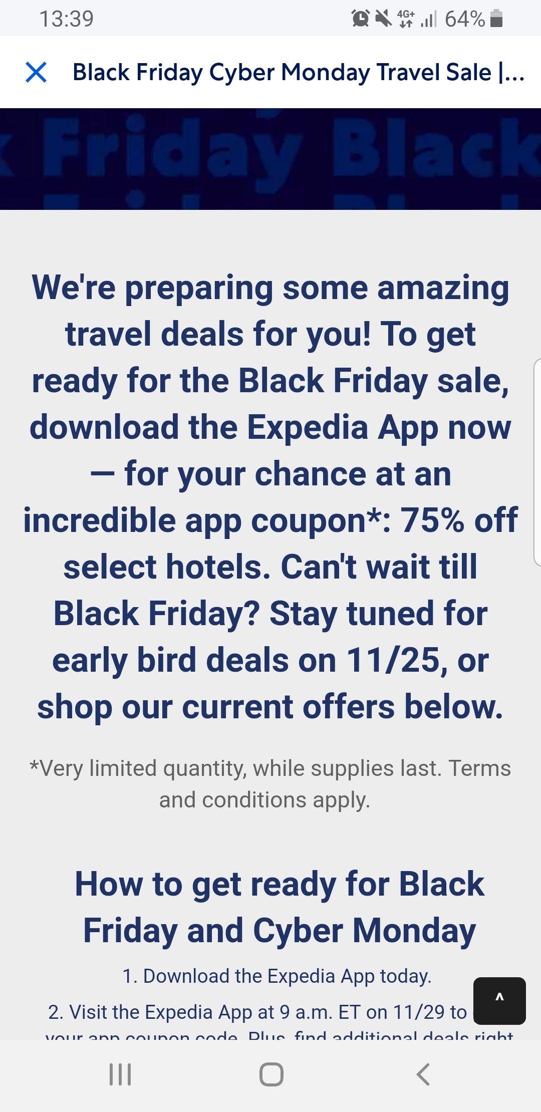 Expedia blackfriday 75% korting op hotels!