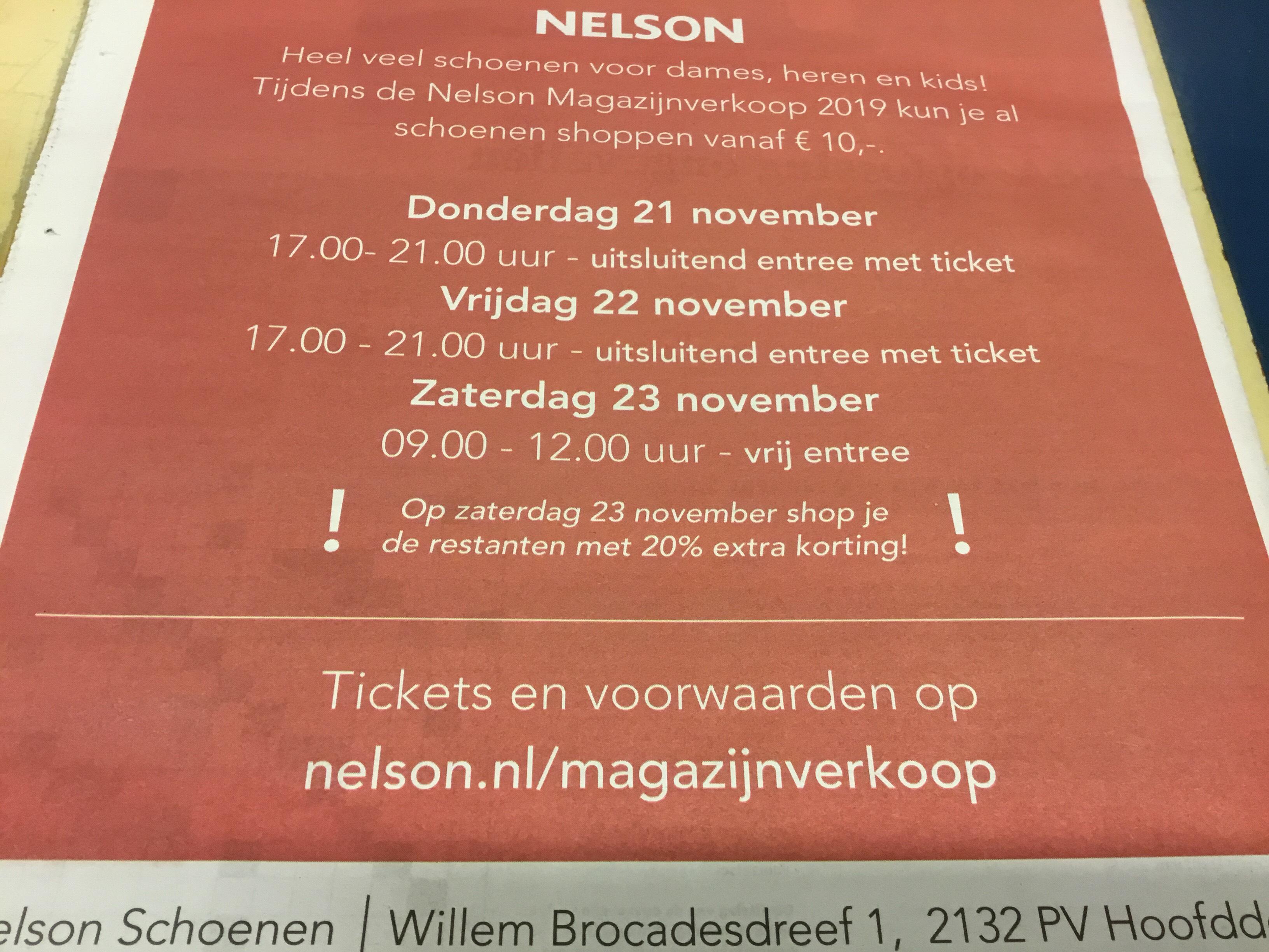 Lokaal Nelson Magazijnverkoop 21-22-23 november