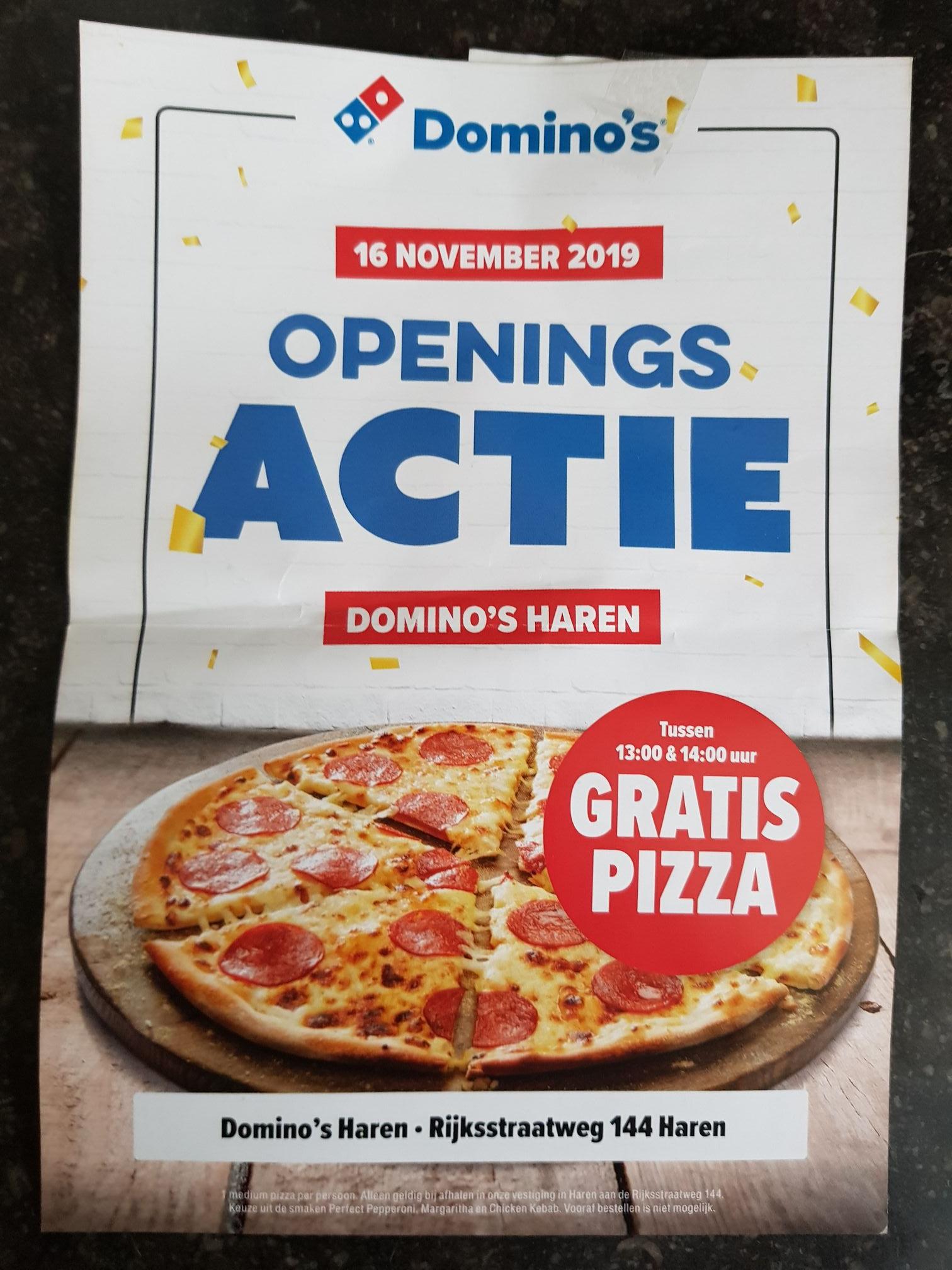 Gratis Pizza bij Domino's Haren (LOKAAL)