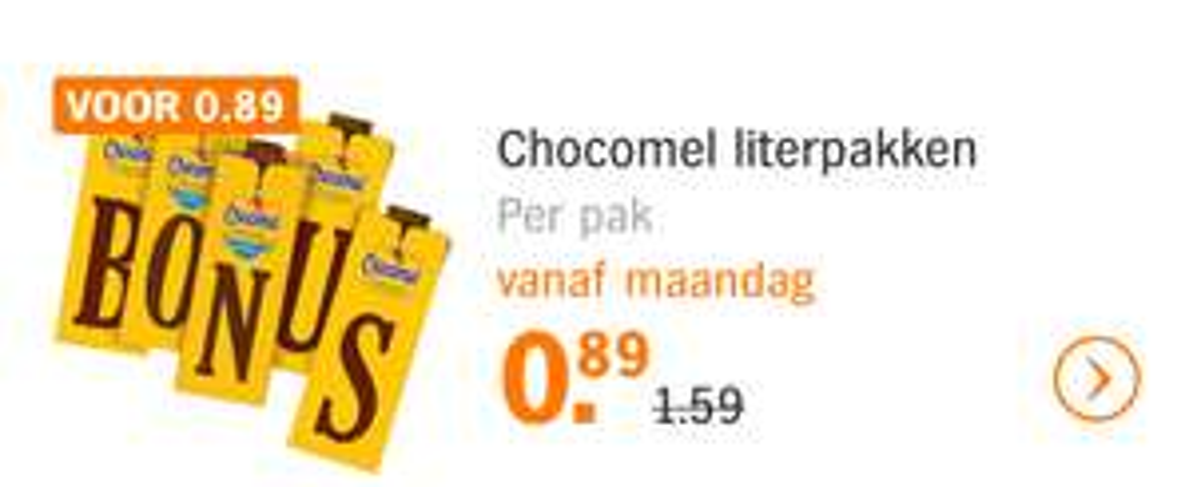 Chocomelk literpakken voor €0,89 bij Albert Heijn