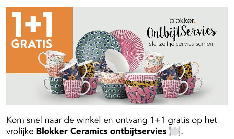 Blokker Ceramics ontbijtservies 1+1 gratis